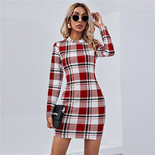 Load image into Gallery viewer, Round Neck Plaid Printed Dress - ShopAndGo.Online