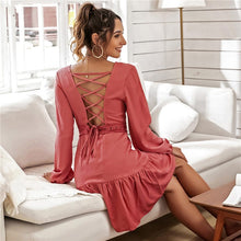 Load image into Gallery viewer, Women Fashion Backless Lace Patchwork Dress - ShopAndGo.Online