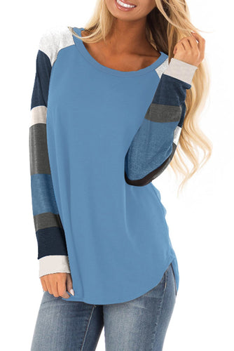 Womens Color Block Long Sleeves Blue Pullover Top - ShopAndGo.Online