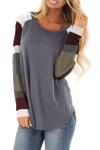 Womens Color Block Long Sleeves Gray Pullover Top - ShopAndGo.Online