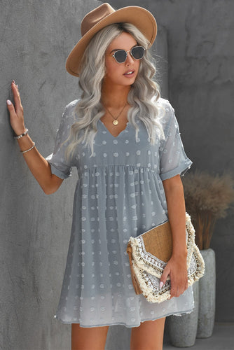 Gray Fever Pitch Pom Babydoll Tunic Dress
