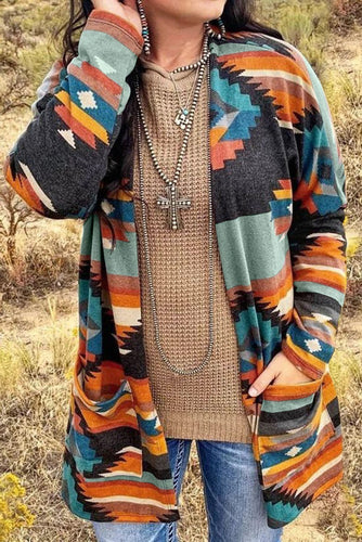 Casual Multi-color Aztec Print Pocket Open Front Cardigan