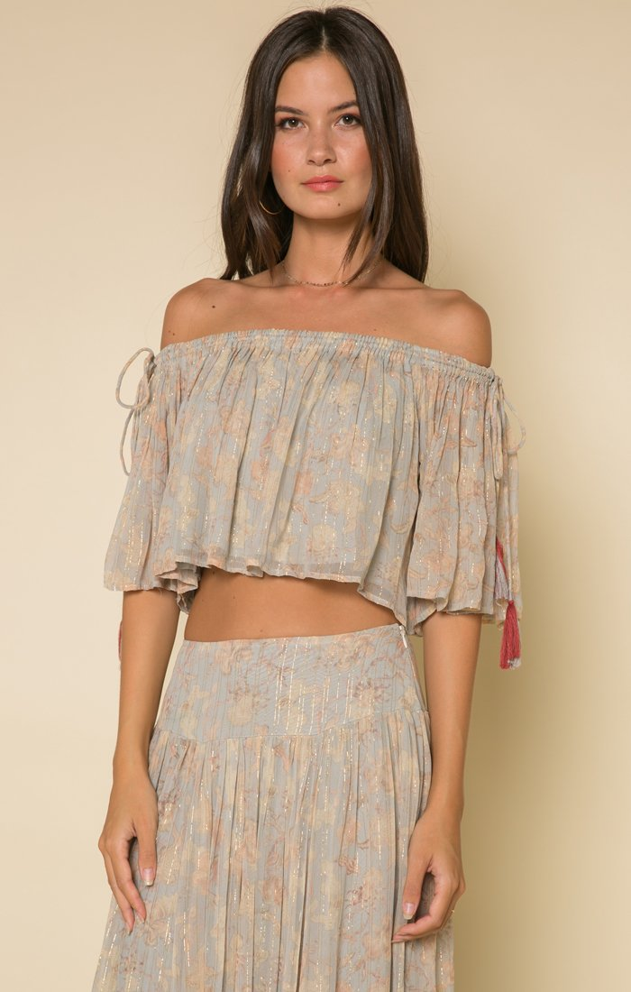 Whispered Dreams Tie Shoulder Crop Top - ShopAndGo.Online
