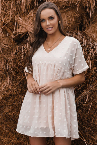 White Fever Pitch Pom Babydoll Tunic Dress