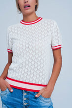 Load image into Gallery viewer, White Open Knit Sweater in Geo Pattern - ShopAndGo.Online