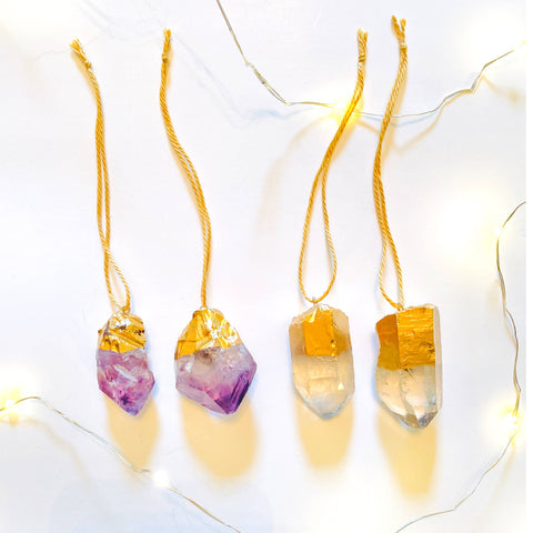 Crystal Quartz & Amethyst Ornaments