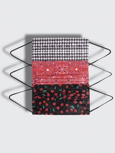 CHERRY, HOUNDSTOOTH & BANDANA 5 MASK MULTI PACK