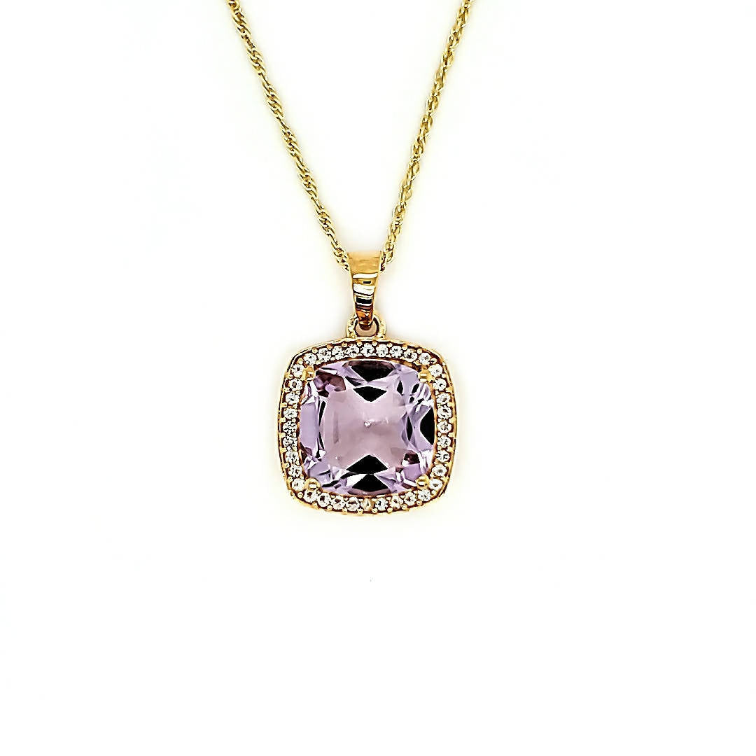Accent Cushion Pendant in Pink Amethyst