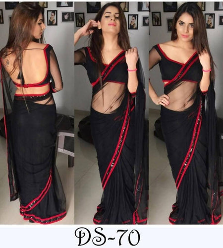 Lycra Lace Border Sarees With Blouse
