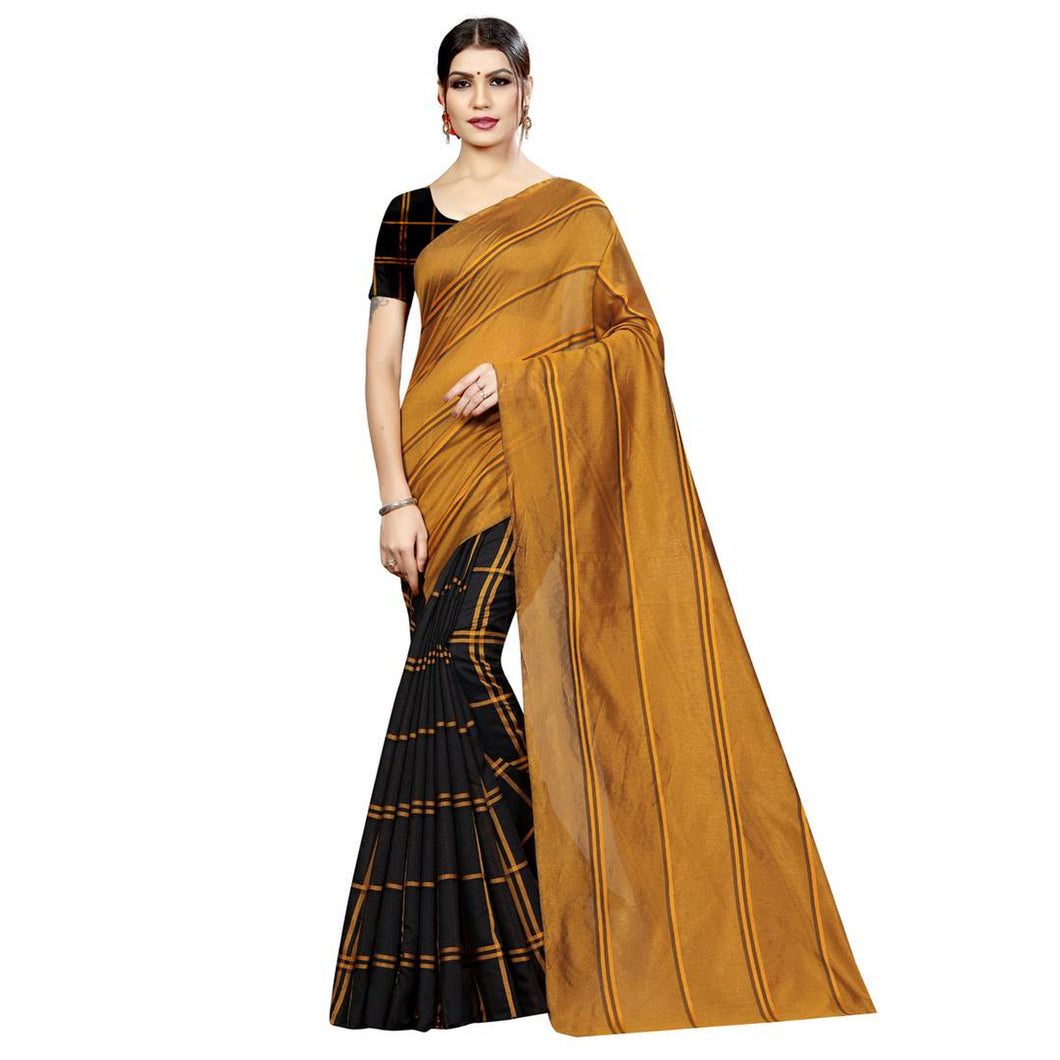 Yellow Solid Cotton Silk Saree with Blouse piece