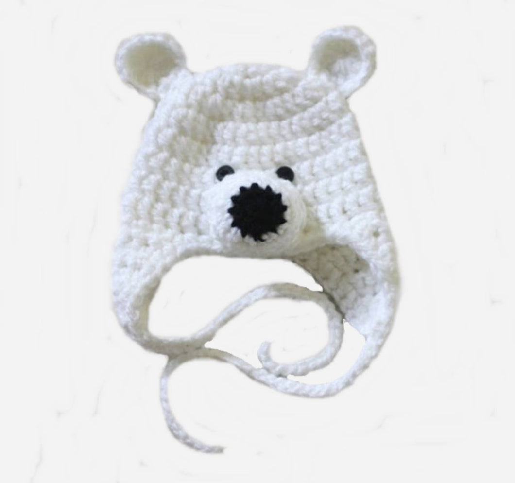 Stylish White Wool Woven Design Kid's Cap