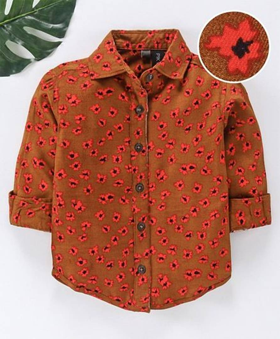 Brown Lilly Dilly Floral Printed Boyss Shirt