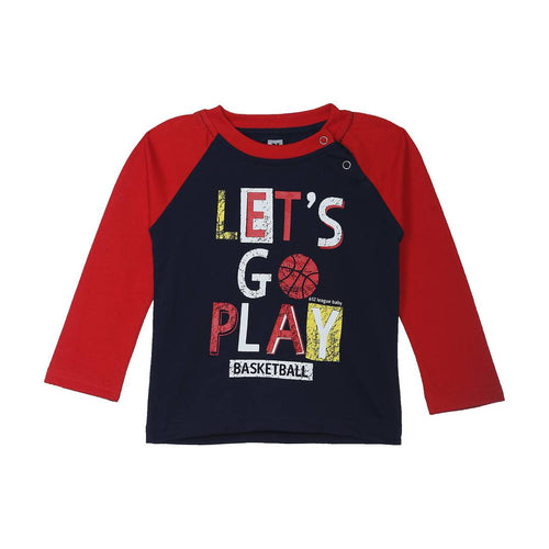 Stylish Cotton Printed Multicolored Round Neck Full Sleeves T-shirt For Kids