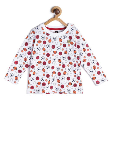 Stylish Cotton Printed White Full Sleeves Round Neck T-shirt For Kids