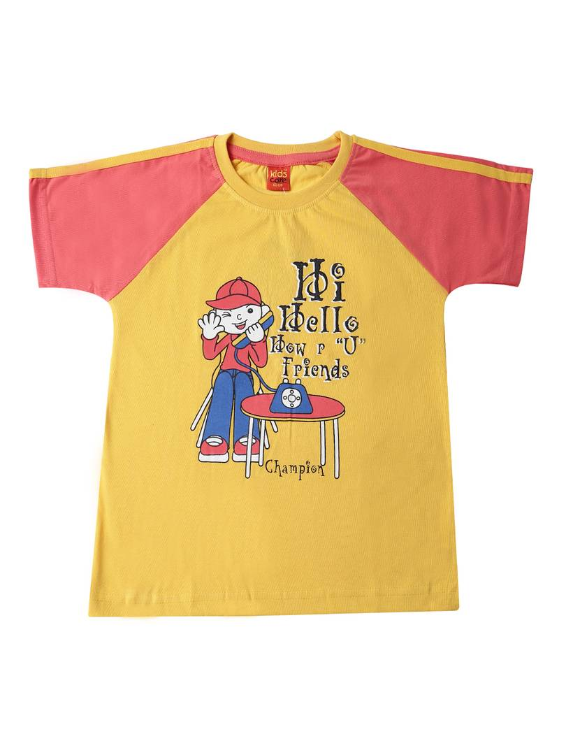 Kids Printed Yellow Cotton Tees