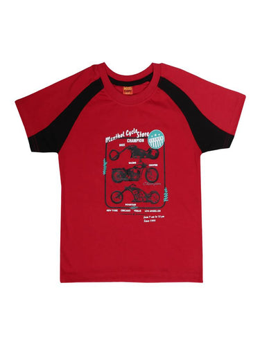 Kids Printed Red Cotton Tees