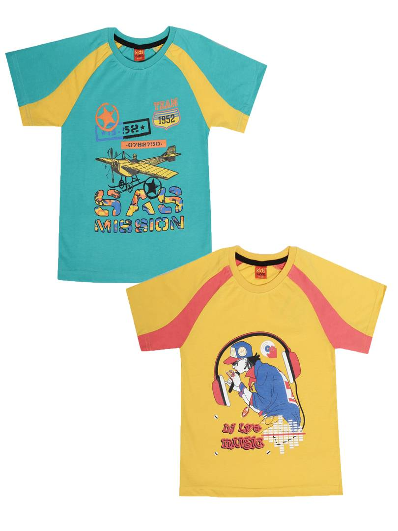 Kids Printed Multicoloured Cotton Tees (Pack Of 2)