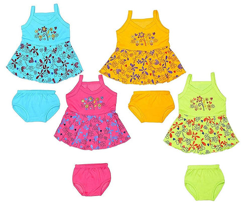 Infants Stylish  Cotton Printed Frocks  (pack of 4)