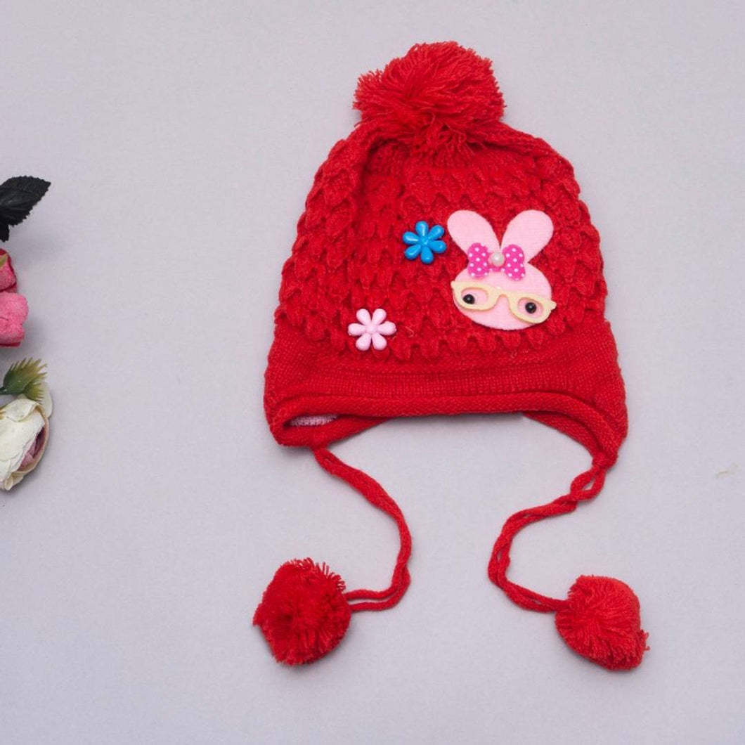 Bunny Patch Woolen Cap With Pom Pom Drawstring - Red