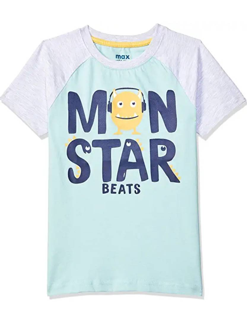 Stylish Hosiery Cotton Turquoise Printed Round Neck T-shirt For Boys
