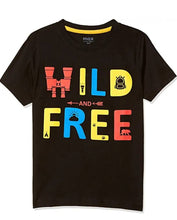 Load image into Gallery viewer, Stylish Hosiery Cotton Black Printed Round Neck T-shirt For Boys