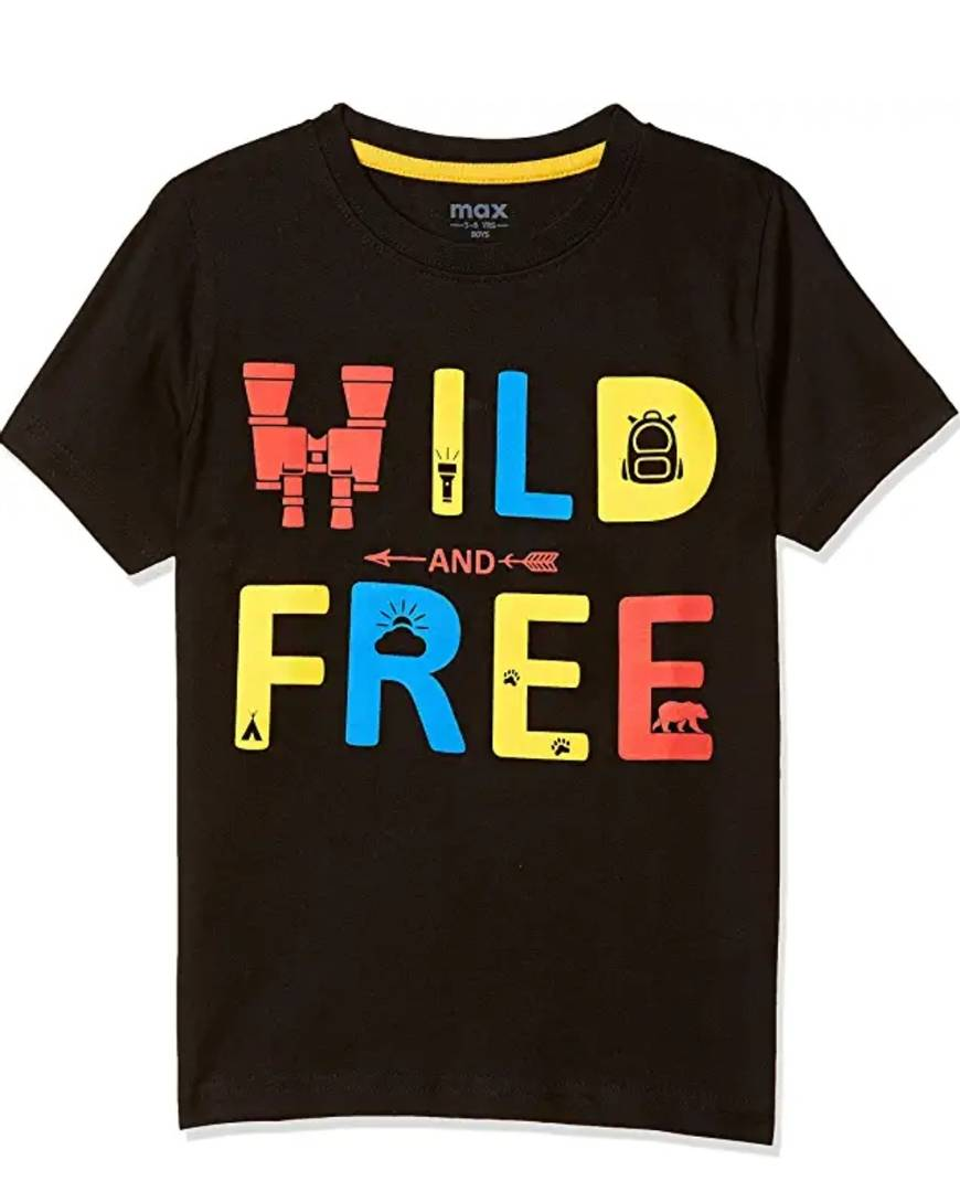 Stylish Hosiery Cotton Black Printed Round Neck T-shirt For Boys