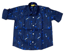Load image into Gallery viewer, Stylish Navy Blue Cotton Printed Shirts For Boys