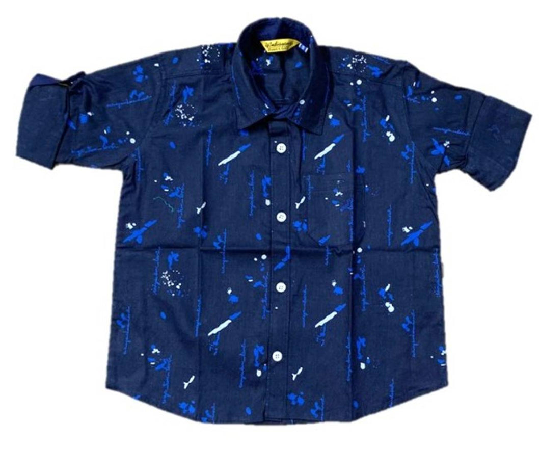 Stylish Navy Blue Cotton Printed Shirts For Boys