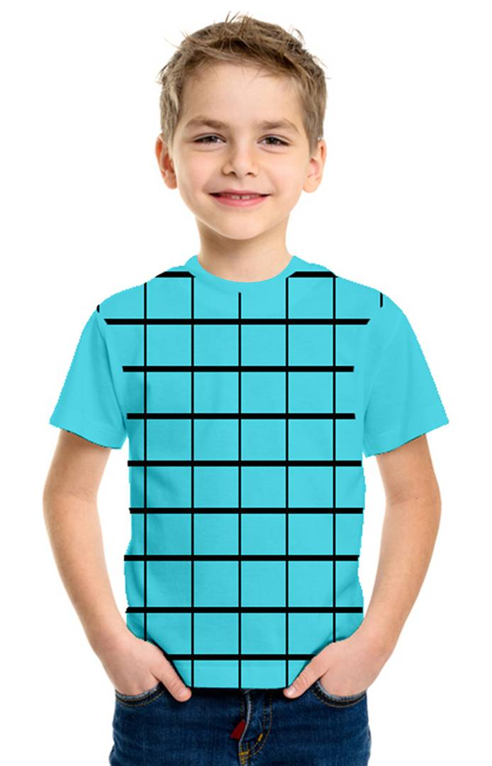 Stylish Cotton Turquoise Printed Round Neck Half Sleeves T-Shirt For Kids