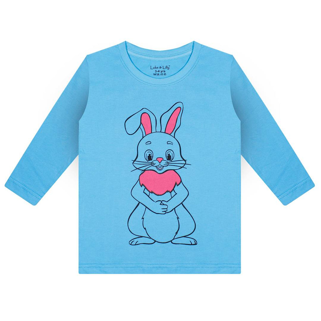 Stylish Cotton Turquoise Printed Round Neck Full Sleeves T-Shirt For Kids