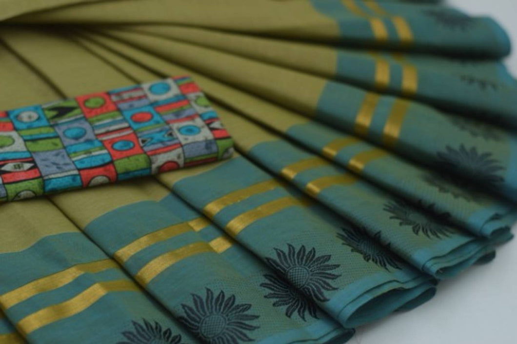 60s Count Chettinadu Cotton Woven Border Saree with Extra Printed Blouse Piece