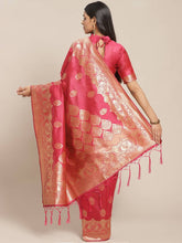 Load image into Gallery viewer, Women's Pink Printed Silk Blend Saree with Blouse piece