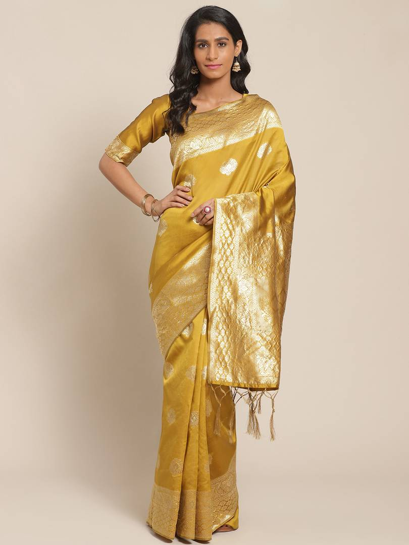 Women's Gold Printed Silk Blend Saree with Blouse piece