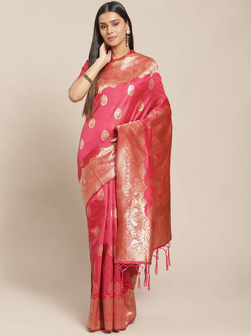 Women's Pink Printed Silk Blend Saree with Blouse piece