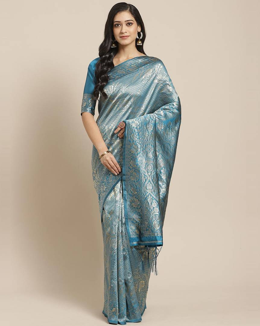 Women's Teal Blue Printed Silk Blend Saree with Blouse piece