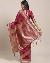 Load image into Gallery viewer, Women's Magenta Printed Silk Blend Saree with Blouse piece