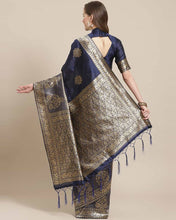 Load image into Gallery viewer, Women's Navy Blue Printed Silk Blend Saree with Blouse piece