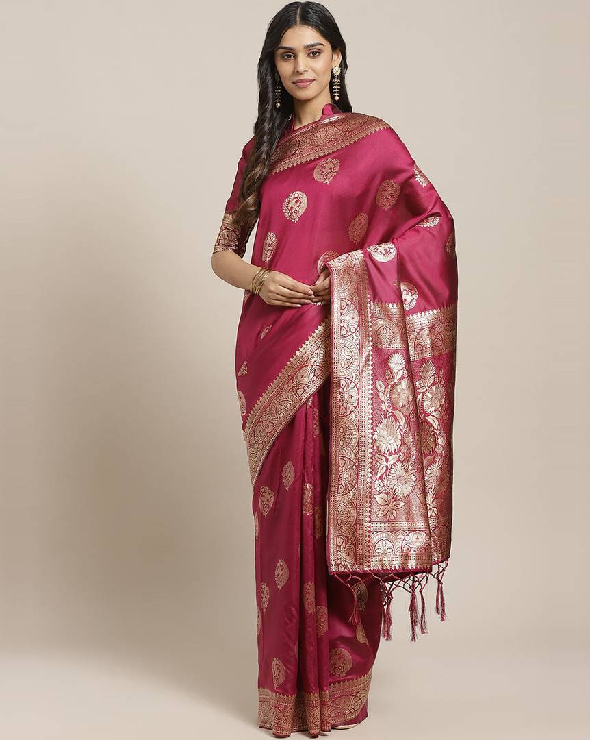 Women's Magenta Printed Silk Blend Saree with Blouse piece