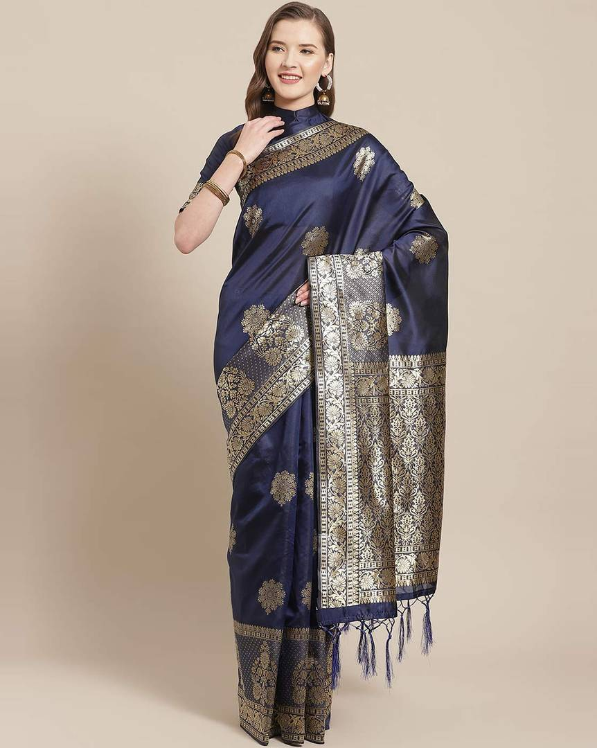 Women's Navy Blue Printed Silk Blend Saree with Blouse piece