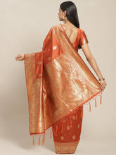 Load image into Gallery viewer, Women's Rust Printed Silk Blend Saree with Blouse piece