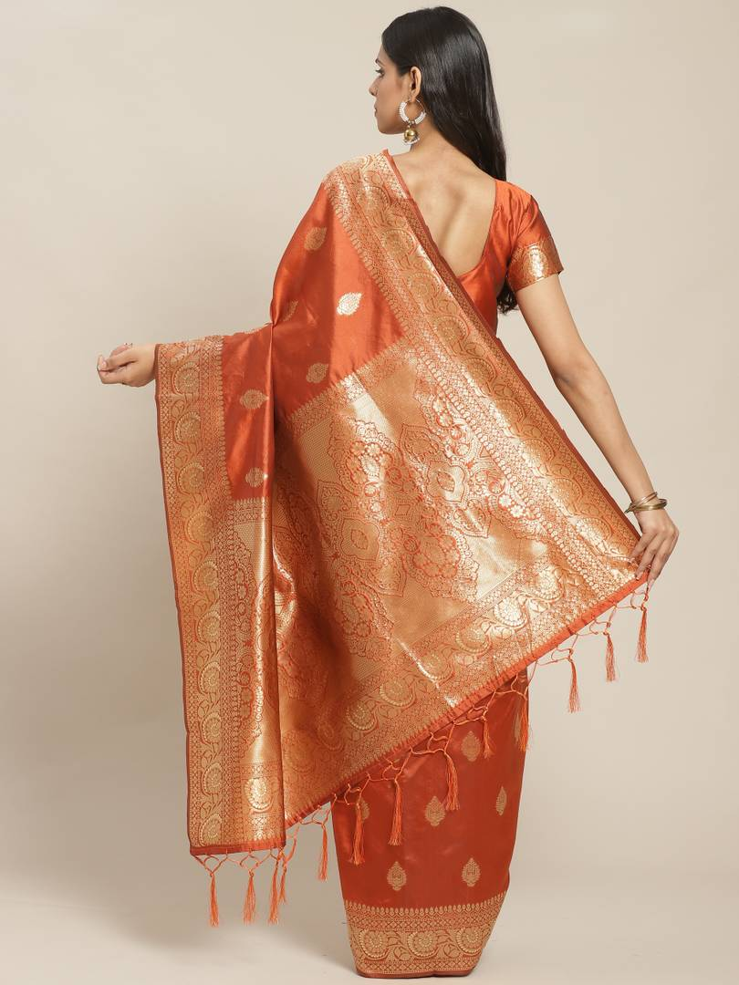Women's Rust Printed Silk Blend Saree with Blouse piece