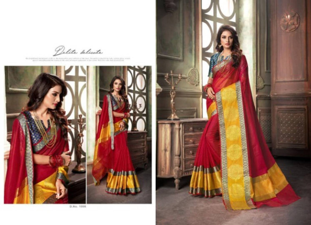 Beautiful Art Silk Jacquard Saree with Blouse piece