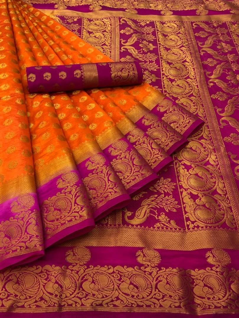 Beautiful Art Silk Saree With Blouse Piece