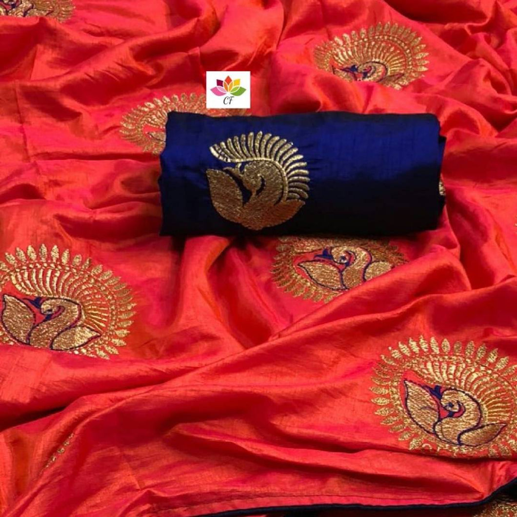 Women Sana Silk Embroidery Work Saree with Blouse Piece