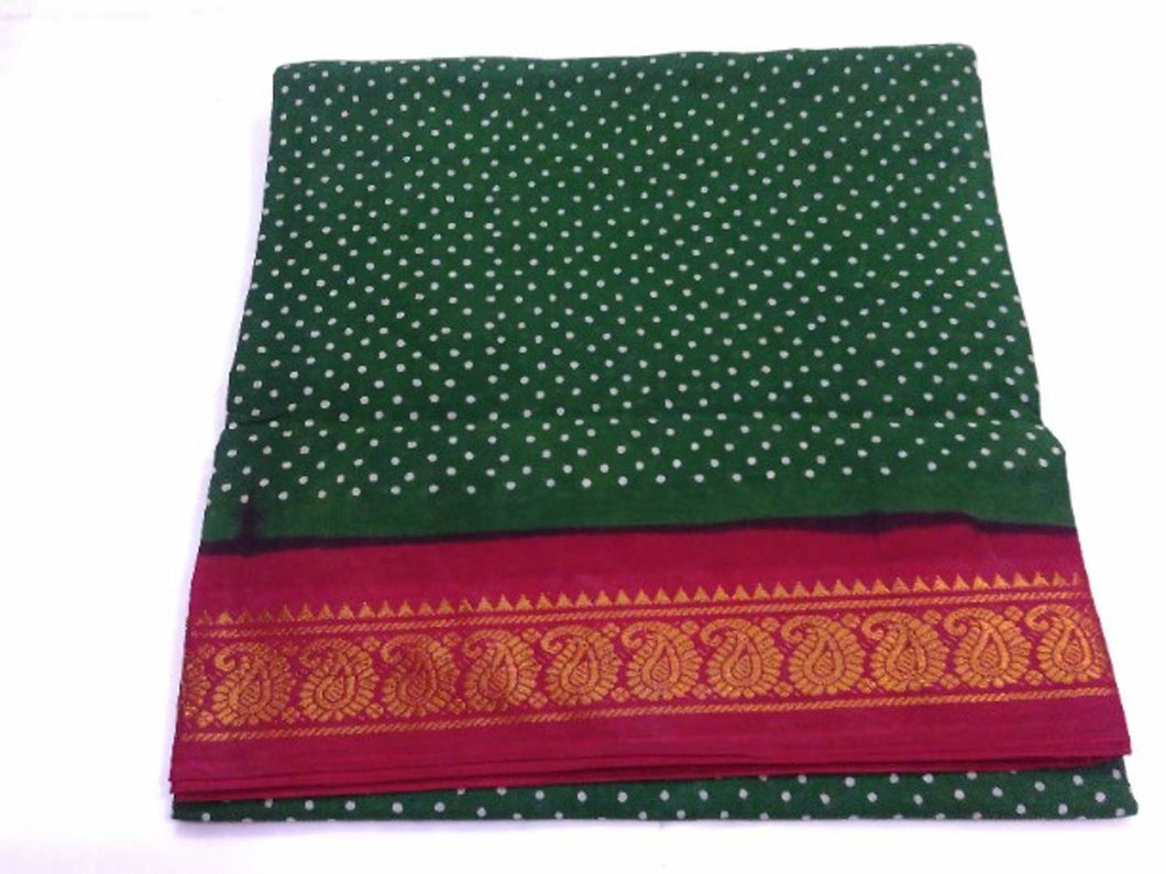 Attractive Cotton Zari Border Saree without Blouse piece