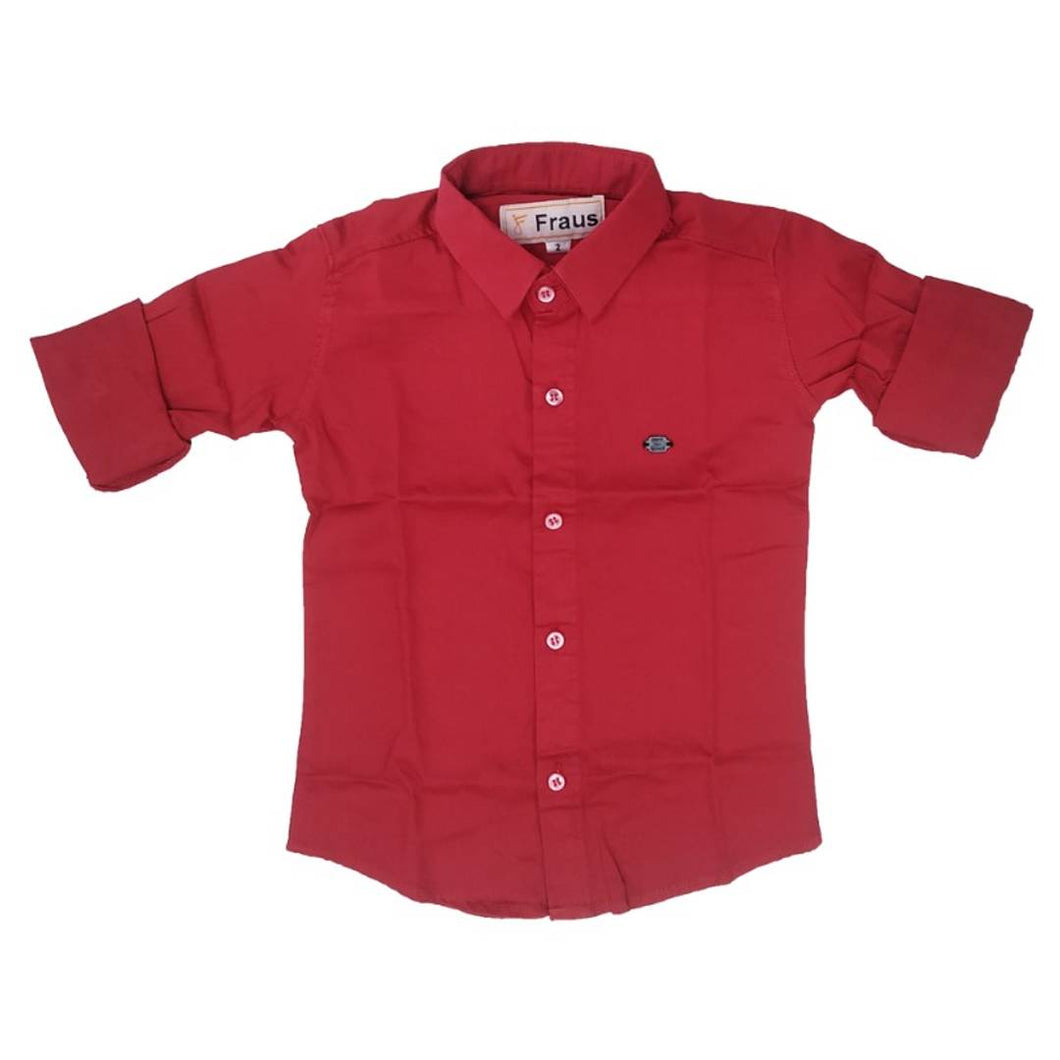 New kids plan shirts with high quality cotton fabric(Red)