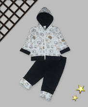 Load image into Gallery viewer, Kids Navy Blue Polyster Printed Winterwear