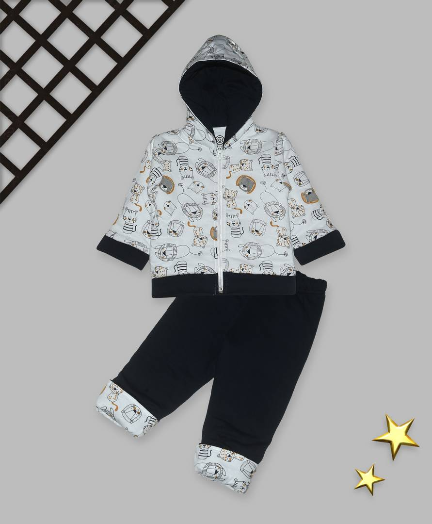 Kids Navy Blue Polyster Printed Winterwear
