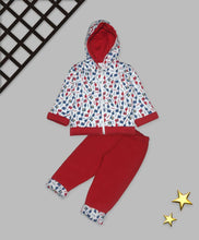 Load image into Gallery viewer, Kids Red Polyster Printed Winterwear
