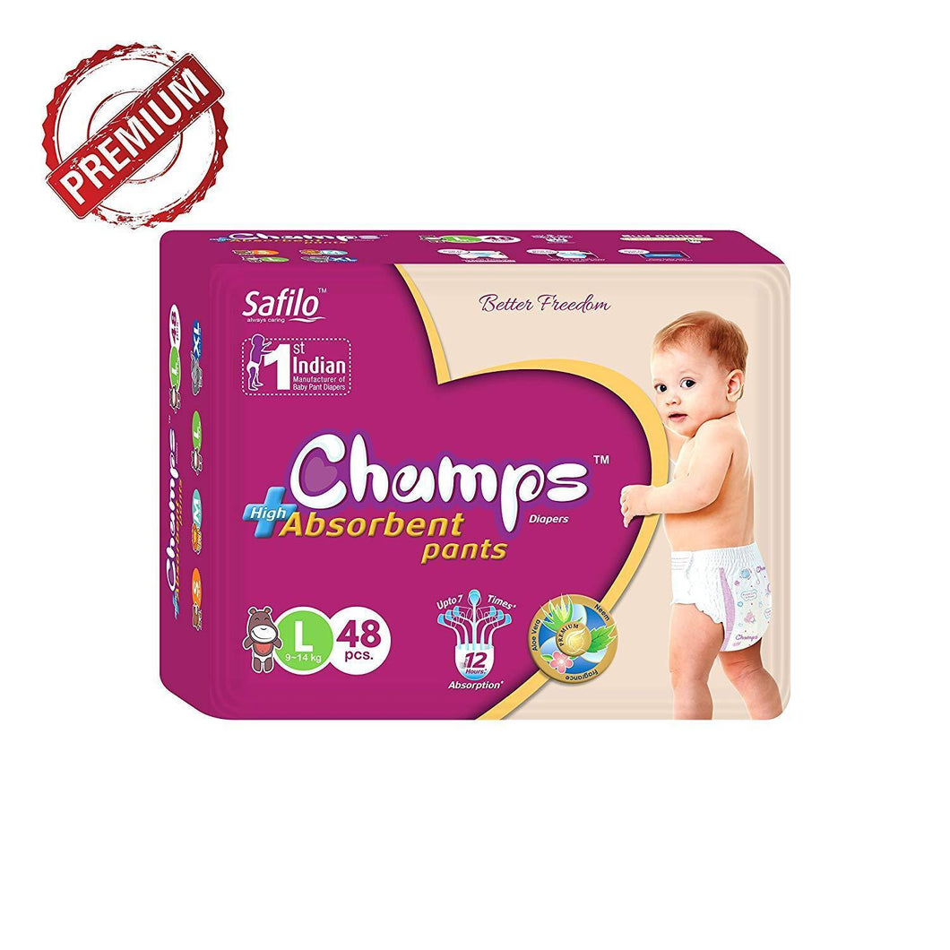 0955 Premium Champs High Absorbent Pant Style Diaper Large Size, 48 Pieces(955_Large_48)